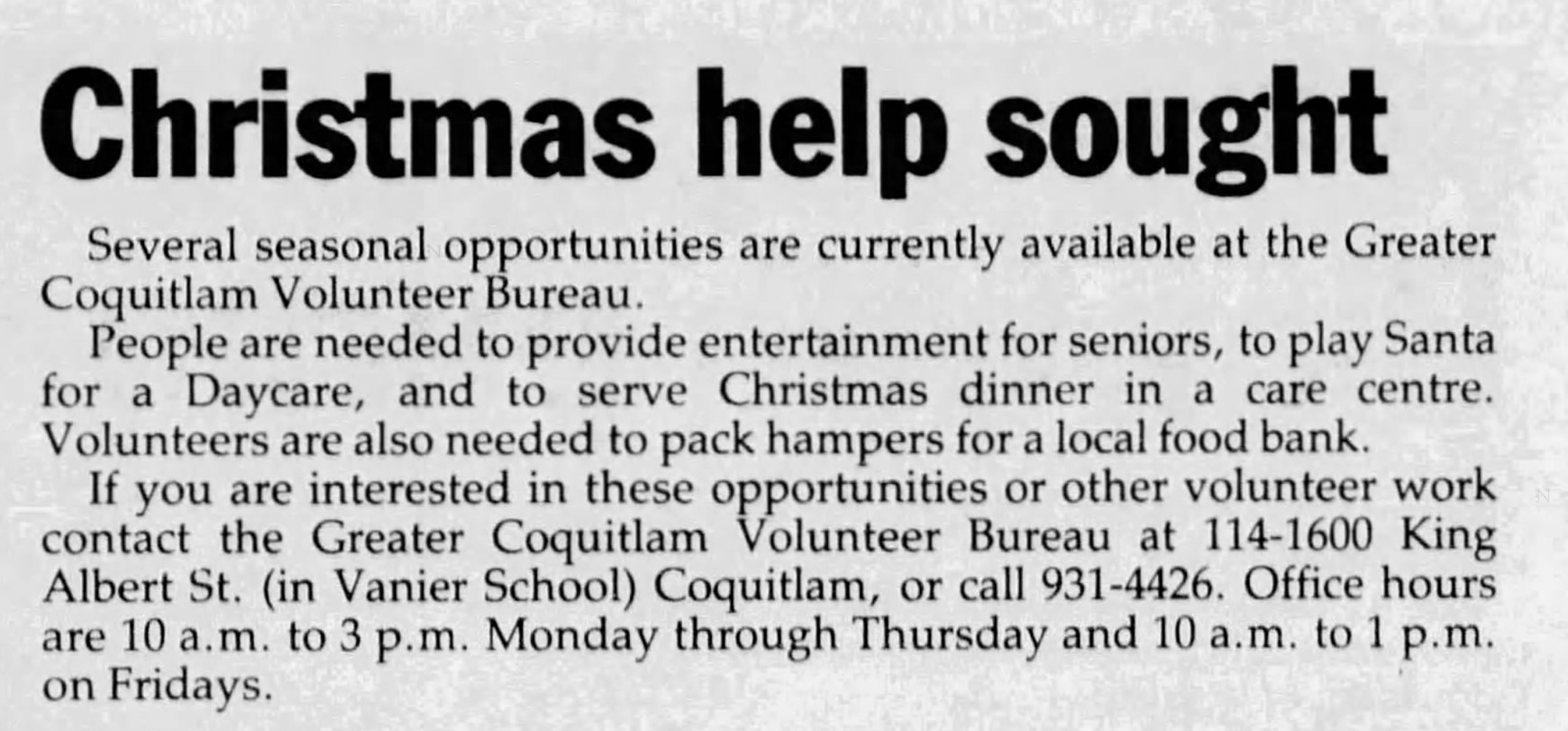 Looking for Christmas Volunteers in the TriCities News - 1988
